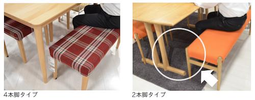 4本脚タイプと2本脚タイプのテーブルの比較
