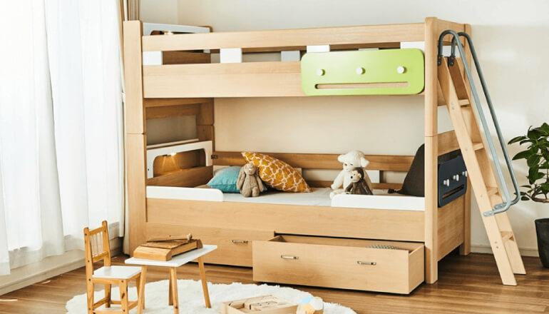 キャビネット&ベッド下収納が選べる人気の2段ベッド「ラキッズ」
