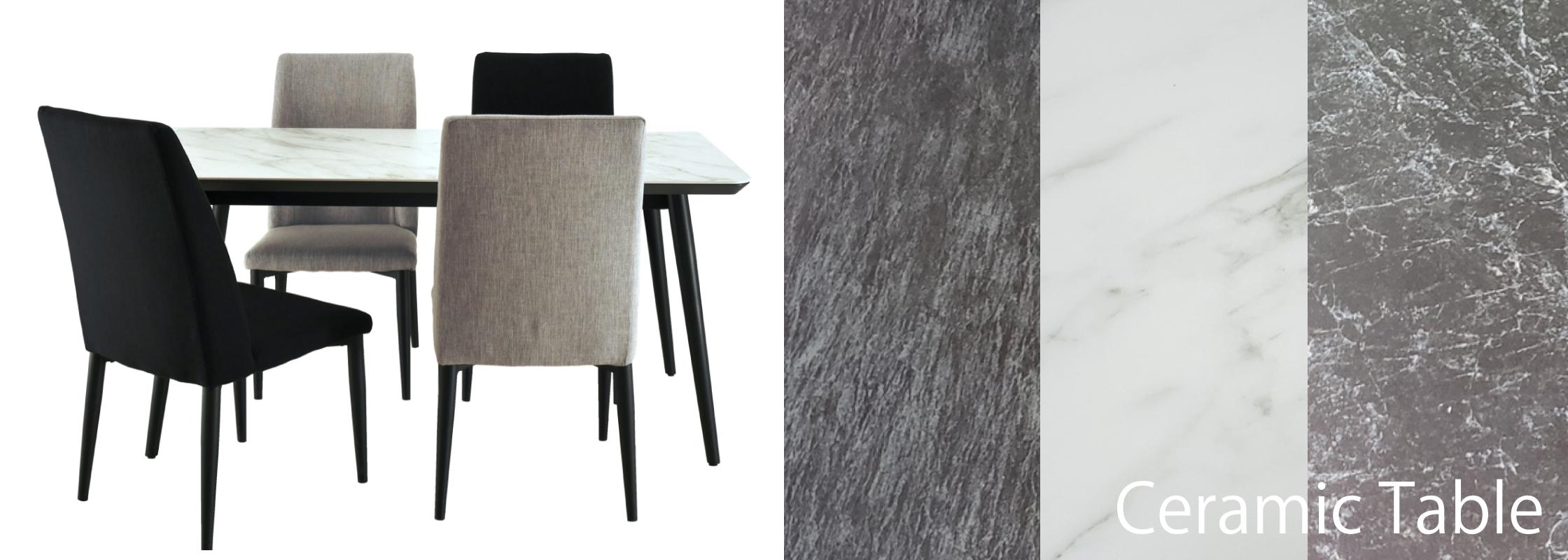 シンプルで馴染みやすいセラミック天板テーブル「バレット」