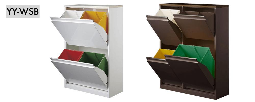 スチール製で水や汚れに強く、場所を取らない薄型で、カラフルでおしゃれに分別できるダストボックス